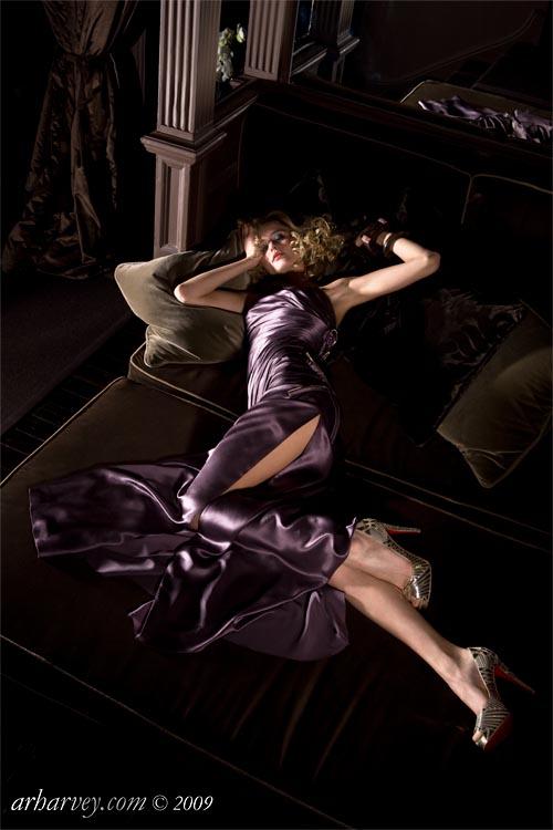 Dress by Versace. No. 11 Cadogan Gardens hotel, Knightsbridge, London.