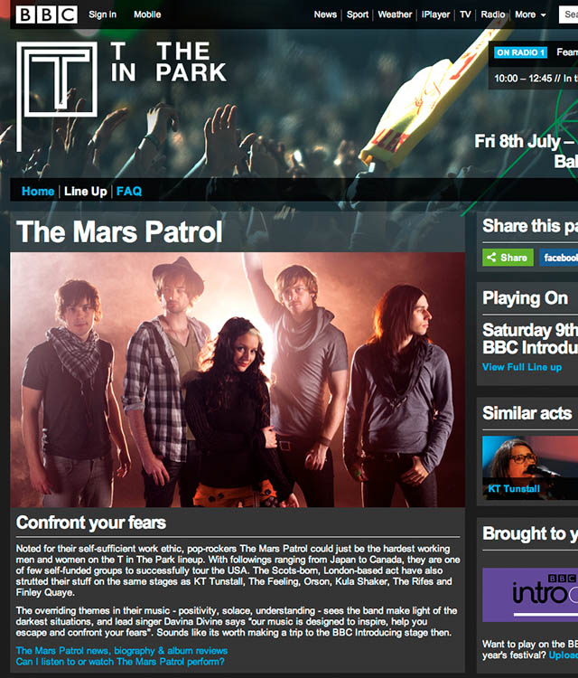 "The Mars Patrol, featured on the BBC ""T in the Park"" website"